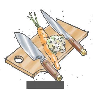 Affilatura dei coltelli e tagli delle verdure